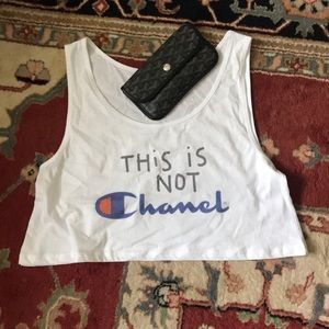 Tops - This is Not Chanel Champion Crop Top White Tank